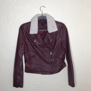 Maroon Forever 21 Faux Leather And Sherpa jacket